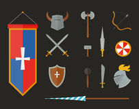 Knight armour with helmet, chest plate, shield and sword flat vector illustration isolated on white background. Stock Images