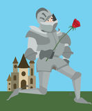 Knight in armour with red rose vector romantic cartoon Royalty Free Stock Photos