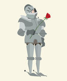 Knight in armour with red rose vector romantic cartoon Royalty Free Stock Images