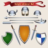 Knight Armour Set. Medieval Tournament accessories and knight armour elements. Vector illustration in cartoon style Stock Image