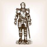 Knight Armour and sword sketch vector Royalty Free Stock Photography