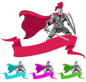 Knight and banner. Emblem with knight and banner Stock Photography