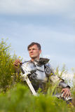 Knight, after the battle. /  summer Royalty Free Stock Photos