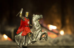 Knight in a Battle field on a horse Stock Photos