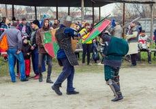 Knight battle on Shrovetide Celebration in Zaporizhia Stock Image