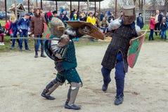 Knight battle on Shrovetide Celebration in Zaporizhia Stock Images