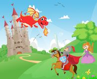 Free Knight Battling A Dragon To Protect The Princess Royalty Free Stock Photography - 74732897