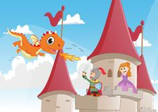 Knight battling a dragon to protect the princess Stock Photography
