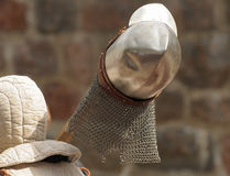 The knight bears a helmet. On a staff of a spear Royalty Free Stock Photography
