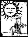 Knight beneath Sun Face Stock Photos