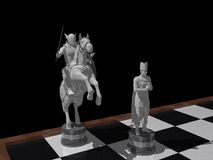 Knight and Bishop. A 3D rendering of the classic knight and bishop chess pieces Royalty Free Stock Photo