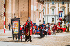 Knight on black horse in medieval  parade Stock Photos