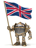Knight with British flag Stock Image