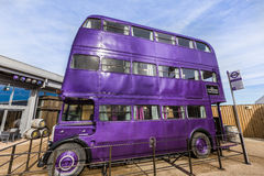 Knight Bus is purple bus from Harry Potter film. Leavesden, London - March 3 2016: Knight Bus is purple bus from Harry Potter film in the Warner Brothers Studio royalty free stock image
