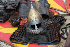 Knight camp during the traditional Medieval festival Royalty Free Stock Photos