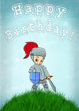 Knight card happy birthday vector illustration Stock Images