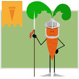 Knight carrots guard healthy eating Royalty Free Stock Photos
