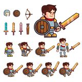 Knight cartoon character. Character is prepared for animation or creating fantasy video games. Character with a set of additional royalty free illustration