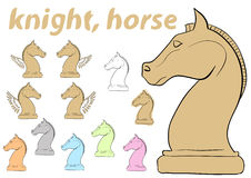 Knight chessman clipart. Clipart a set with multi-colored chessman knight Stock Photography