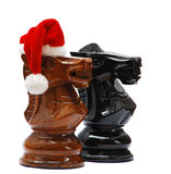Knight com chapéu de Santa Imagem de Stock Royalty Free