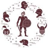 Knight com protetor, espada, e os capacetes diferentes ilustração do vetor