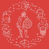 Knight com protetor, espada, e os capacetes diferentes ilustração royalty free