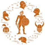 Knight com protetor, espada, e os capacetes diferentes ilustração stock
