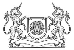 Knight Crest Unicorn Shield Heraldic Emblem. A medieval heraldic coat of arms crest emblem featuring unicorn supporters flanking a shield Stock Photography