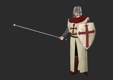 Knight Crusader Dark Background illustration Royalty Free Stock Photo