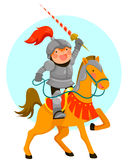 Knight. Cute cartoon knight riding his horse Royalty Free Stock Images
