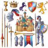 Knight Decorative Icons Set. With medieval castle golden goblet armour crown edged weapon shield isolated vector illustration Royalty Free Stock Images
