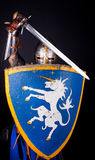 Knight in defending mode Royalty Free Stock Photo