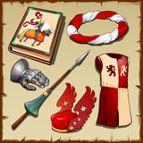 Knight different items of the middle ages. Knight set of clothing, weapons and other symbols of the middle ages Stock Images