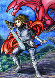 The knight and the dragon. A young knight ready to fight. In the background a red dragon Stock Image