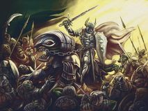 A knight on a dragon against an army of demons stock illustration