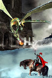 The knight, the dragon and the castle. Close to a castle, high in the snowy mountains, a knight fights against a flying dragon Stock Images