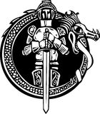 Knight in Dragon Circle. Woodcut style medieval knight in a dragon circle Stock Images