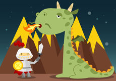 Knight and dragon. A knight facing a big dragon with his sword Royalty Free Stock Photos