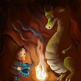 Knight and dragon. Fairy tale Royalty Free Stock Image
