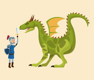 Knight and dragon fighting tale Royalty Free Stock Images