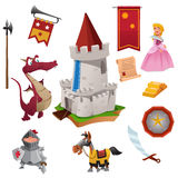 Knight and Dragon Icons. A vector illustration of knight and dragon icon sets Royalty Free Stock Photos