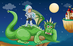 Knight and dragon. Illustration of a knight and a dragon Royalty Free Stock Photo