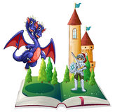 Knight and Dragon. Illustration of a book of a knight and a dragon Royalty Free Stock Photos