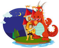 Knight and dragon on the island. Illustration Royalty Free Stock Images