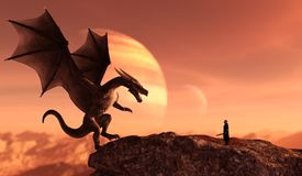Knight and the Dragon. In magical landscape,3d art illustration for book illustration or book cover Royalty Free Stock Photography