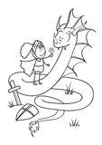 Knight and dragon outlined. Kind Knight gives the Dragon a flower - the concept of pacifism Royalty Free Stock Images