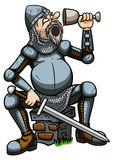 Knight drinking from a goblet. Illustration a cartoon tired knight. He is sitting on a ruin and drinking from a cup Royalty Free Stock Images