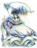 Knight en un coche stock de ilustración