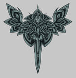 Knight. Epic hero in the symmetrical pattern Stock Image