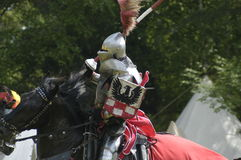 Knight. Equestrian knife in historical armor - tournament knife in Chorzów, Poland royalty free stock image